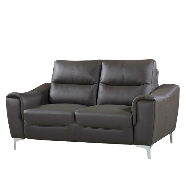 Junia Modern Leather Loveseat By Latitude Run