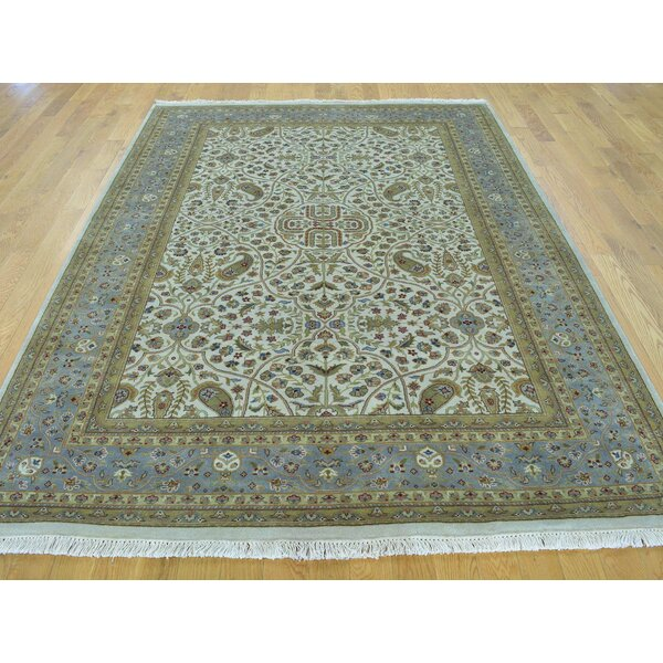 One-of-a-Kind Benally New Zealand Hand-Knotted Beige Wool Area Rug by Isabelline