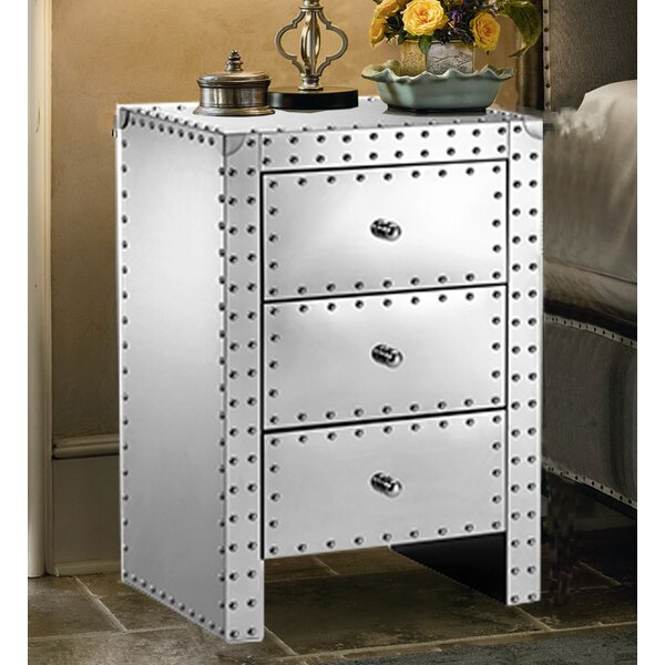 Alonso Stainless Steel 3 Drawer Nightstand by House of Hampton