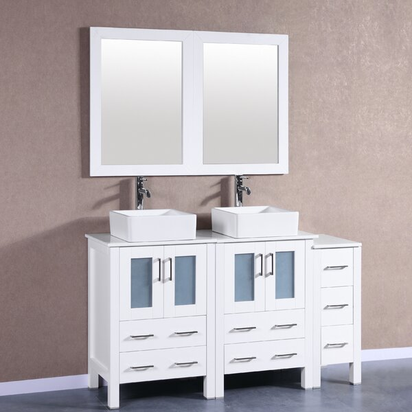Pratt 60 Double Bathroom Vanity Set with Mirror by Bosconi