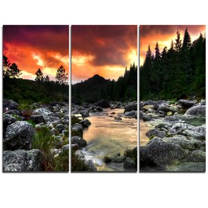 Rocky Mountain River at Sunset - 3 Piece Graphic Art on Wrapped Canvas Set by Design Art