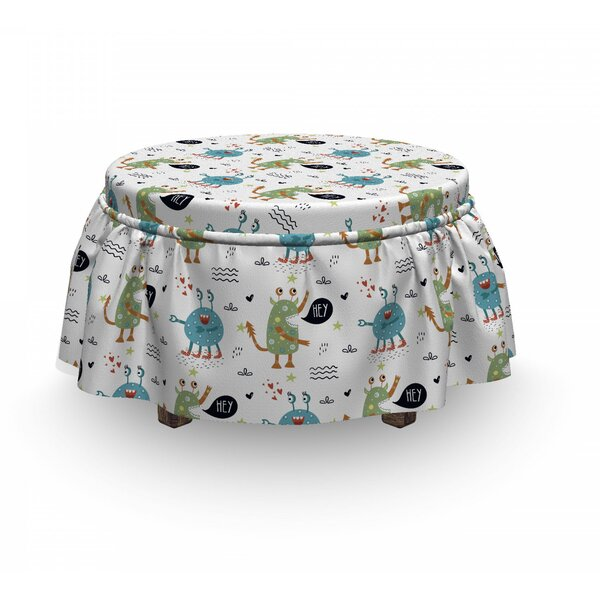 Funky Monsters And Creatures Ottoman Slipcover (Set Of 2) By East Urban Home