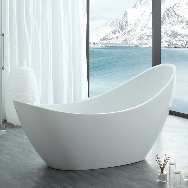 HelixBath Odysseus Slipper 73 X 30.7 Freestanding Soaking Bathtub by Kardiel
