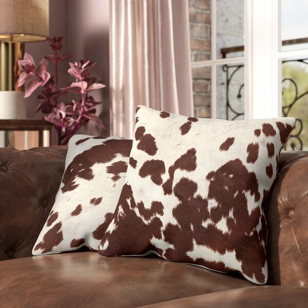 Margarida Square Cow Hide Print Throw Pillow (Set of 2) by Willa Arlo Interiors