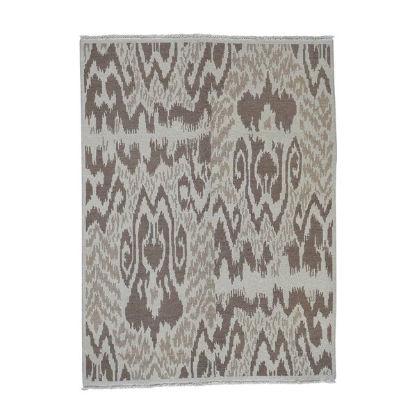One-of-a-Kind Etherton Soumak with Ikat Flat Weave Oriental Hand-Knotted Beige Area Rug by World Menagerie