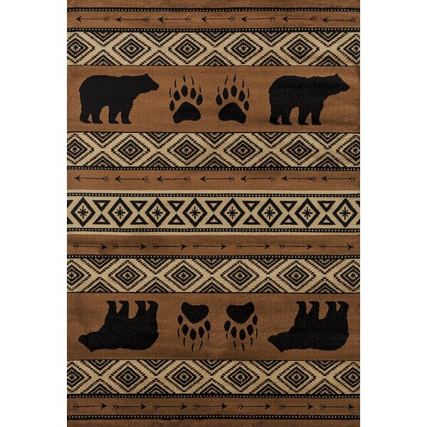 Pippen Bear Imprint Brown/Beige/Black Area Rug by Loon Peak