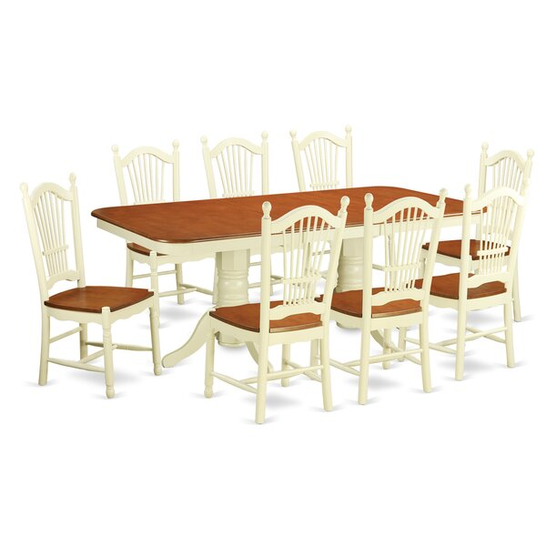Pillsbury 9 Piece Wood Dining Set with Double Pedestal Table Legs by August Grove