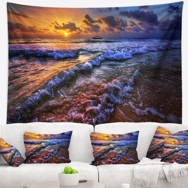 Seashore Sunset over Blue Tinged Waves Tapestry and Wall Hanging by East Urban Home