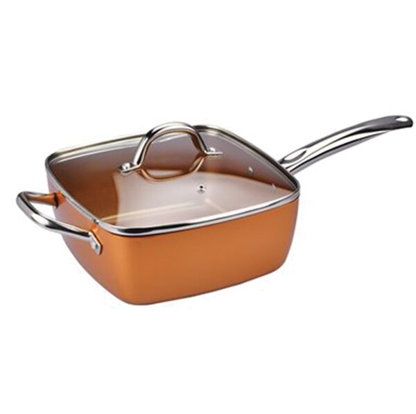 Chefs Cusine 9.5 Copper Skillet with Lid by Diamond Home