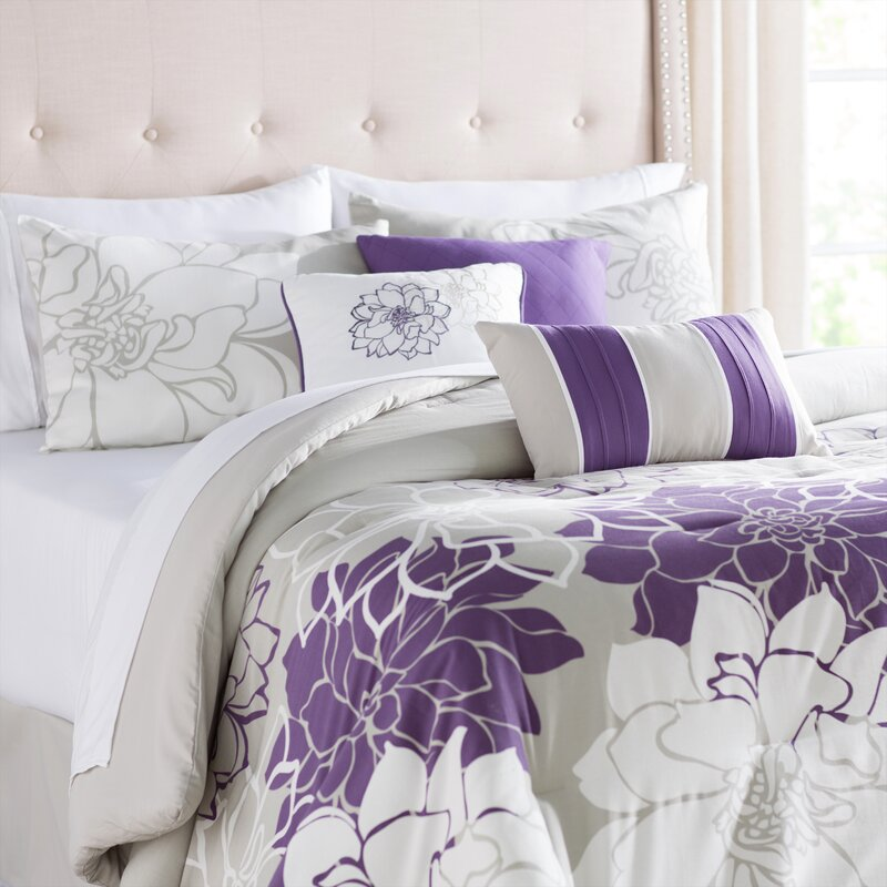 Purple and Silver Broadwell 7 Piece Reversible Comforter Set By Red Barrel Studio