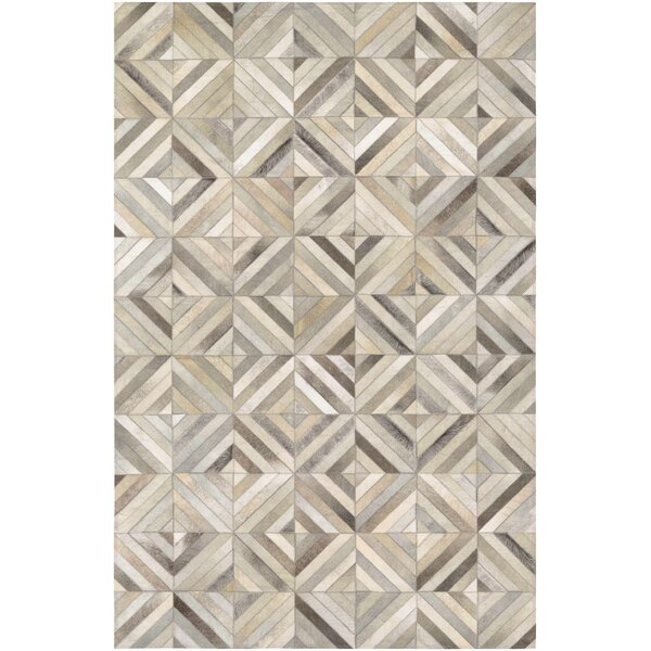 Easthampton Hand-Woven Ivory Cowhide Leather Area Rug by Williston Forge
