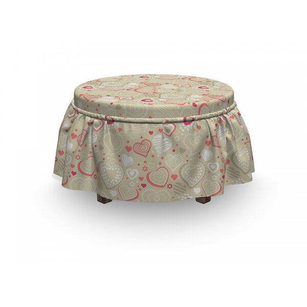 Valentines Doodle Heart Motifs 2 Piece Box Cushion Ottoman Slipcover Set By East Urban Home