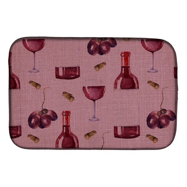 Wine on Linen Dish Drying Mat by Caroline's Treasures