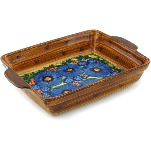 Tropical Wildflowers Rectangular Non-Stick Polish Pottery Baker by Polmedia