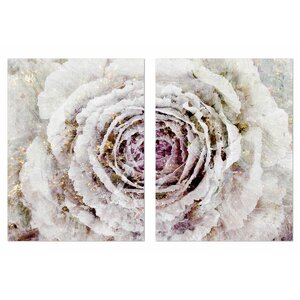 'Winter New York Flower Diptych' 2 Piece Painting Print on Wrapped Canvas Set by Mercer41