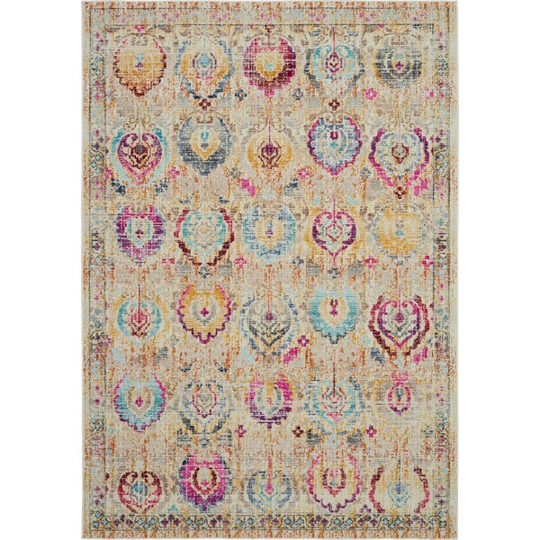 Lowndes Bohemian Ivory/Blue Area Rug by Bungalow Rose