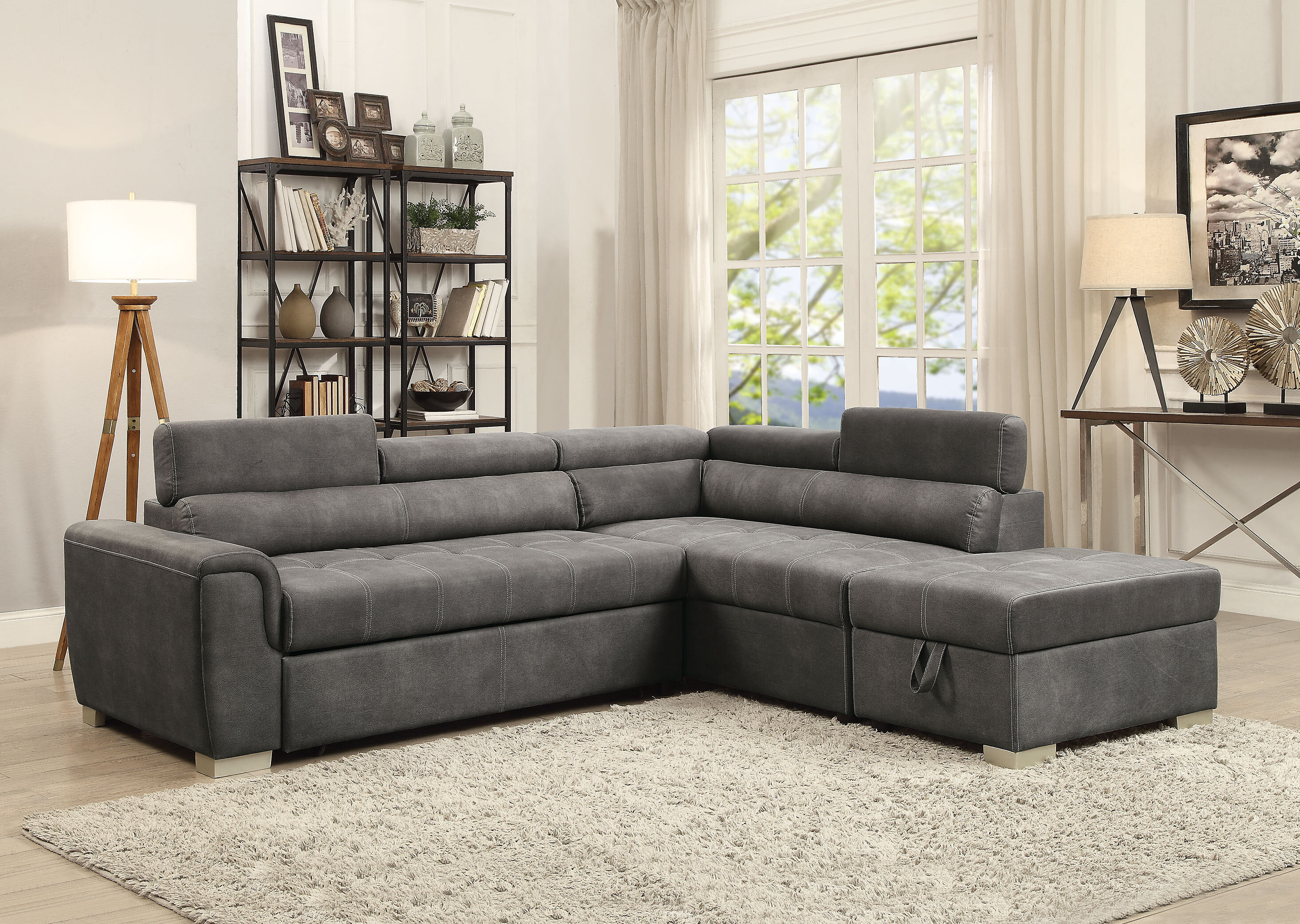 Magnificent Brayden Studio Truesdale Sleeper Sectional With Ottoman Caraccident5 Cool Chair Designs And Ideas Caraccident5Info
