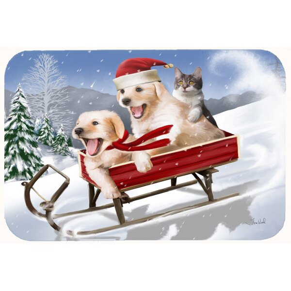 Dogs and Kitten in Sled Need for Speed Bath Rug