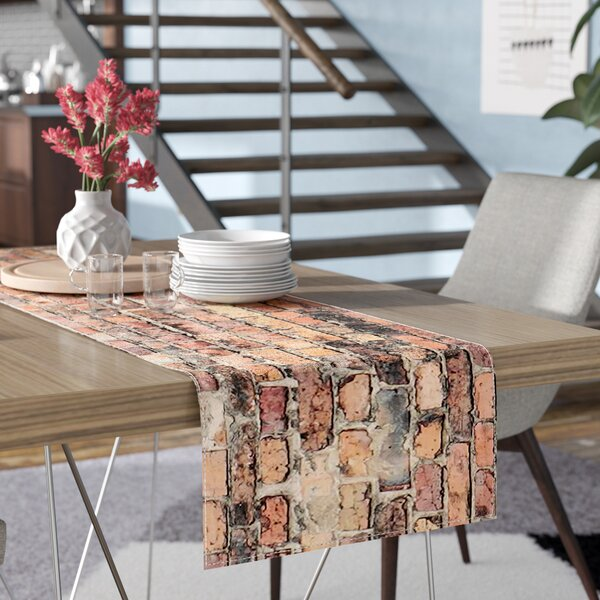 Susan Sanders Rustic Bricks Table Runner by East Urban Home