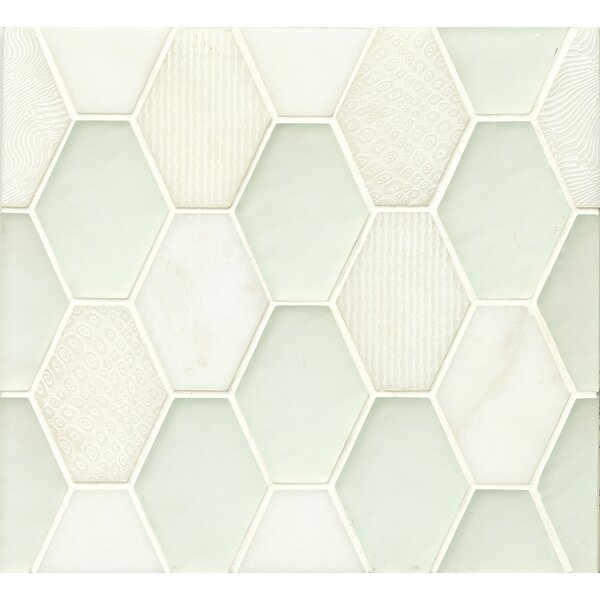 DuJour Glass and Stone Mosaic Tile in White by Grayson Martin