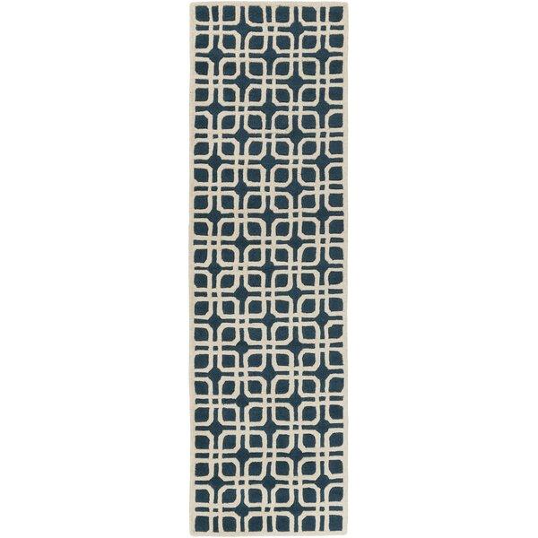 Murrah Handmade Tufted Wool Teal/Ivory Rug