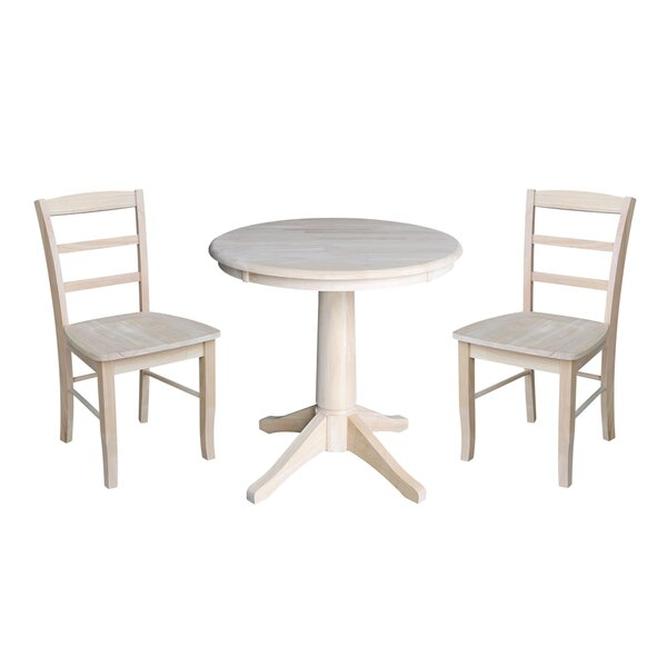 Scettrini 3 Piece Solid Wood Dining Set by Rosalind Wheeler Rosalind Wheeler