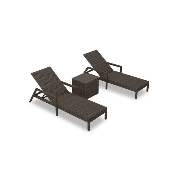 Glen Ellyn Sun Lounger Set with Cushions and Table by Everly Quinn