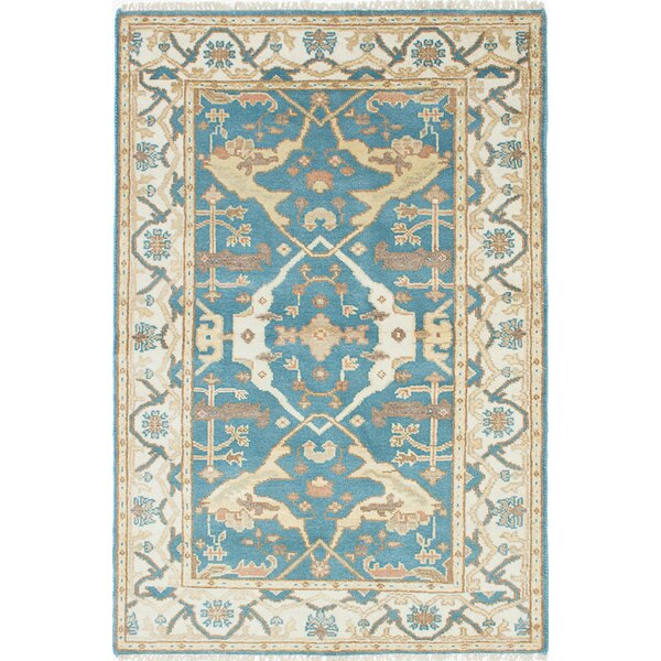 One-of-a-Kind Doggett Wool Hand-Knotted Cream/Dark Turquoise Area Rug by Isabelline