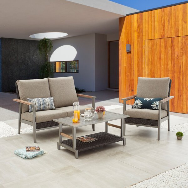 Heilwood Outdoor 3 Piece Sofa Seating Group with Cushions by Ebern Designs