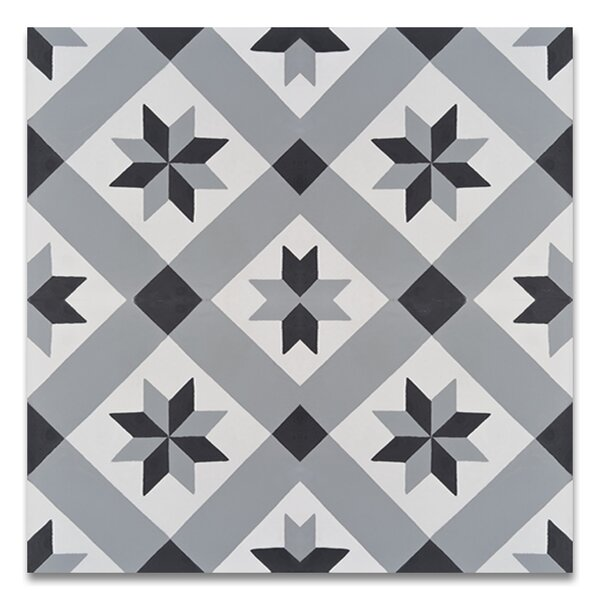 Kotoubia Handmade 8 x 8 Cement Patterned Tile in Black/Gray by Moroccan Mosaic