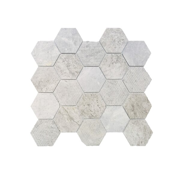 3 x 3 Mosaic Tile in Silver Shadow by Ephesus Stones