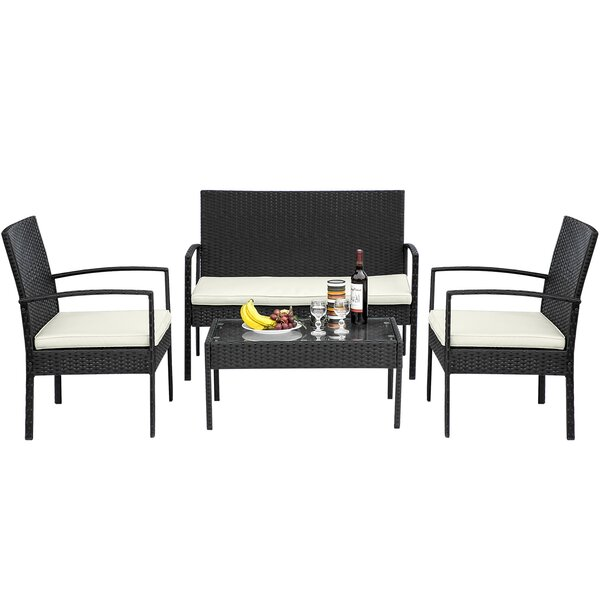 Fiorito 4 Piece Sofa Seating Group with Cushions by Wrought Studio