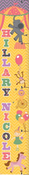 Retro Circus Girl Personalized Growth Chart by Mona Melisa Designs