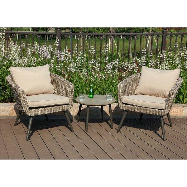 Woodside Outdoor 3 Piece Rattan with Cushions (Set of 2) by Bungalow Rose