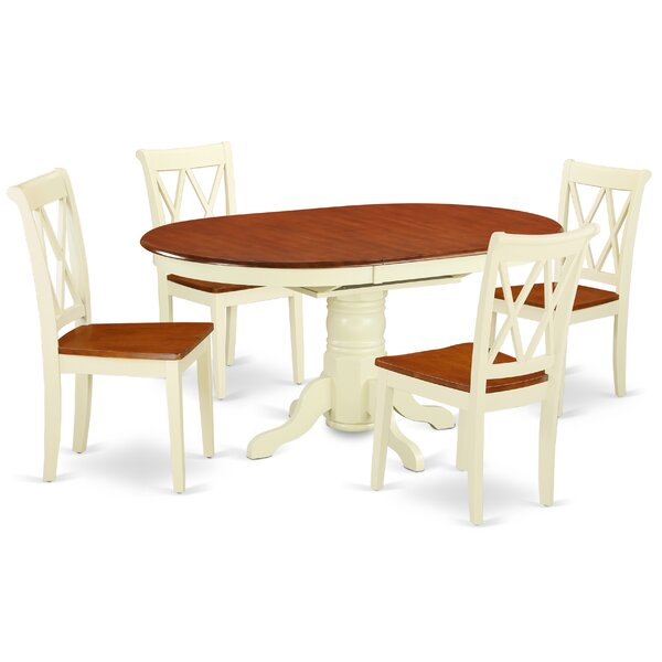 Kymani 5 Piece Extendable Solid Wood Dining Set by August Grove