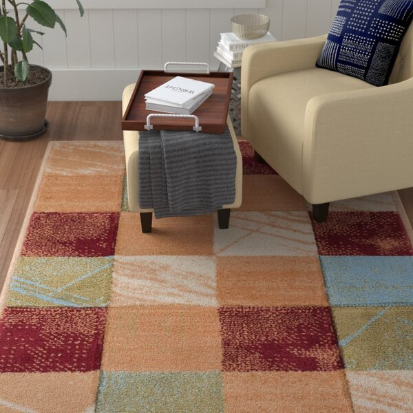 Atherton Modern Power Loom Geometric Squares Red Area Rug by Winston Porter