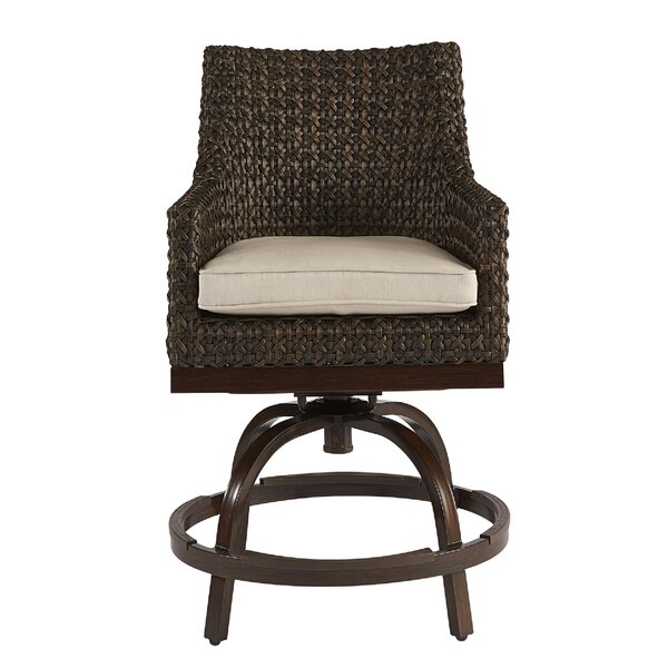 Asphodle Outdoor Wicker Patio Bar Stool with Cushion by Gracie Oaks Gracie Oaks