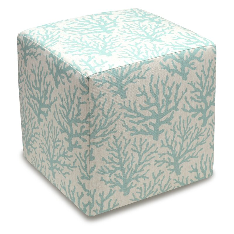 123 Creations Cube Ottoman Color: Aqua