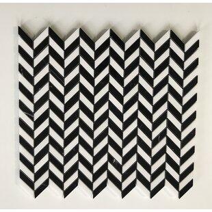 Thos Mini Chevron 0 38 X 1 Marble Mosaic Tile In White Black