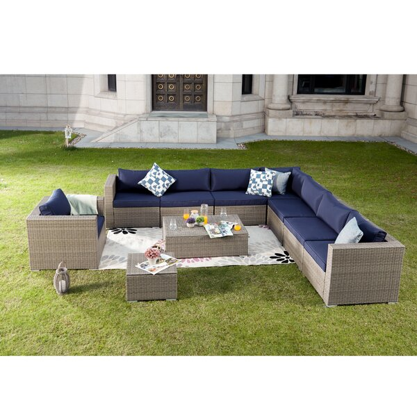 Kensal 10 Piece Rattan Sectional Seating Group with Cushions by Brayden Studio