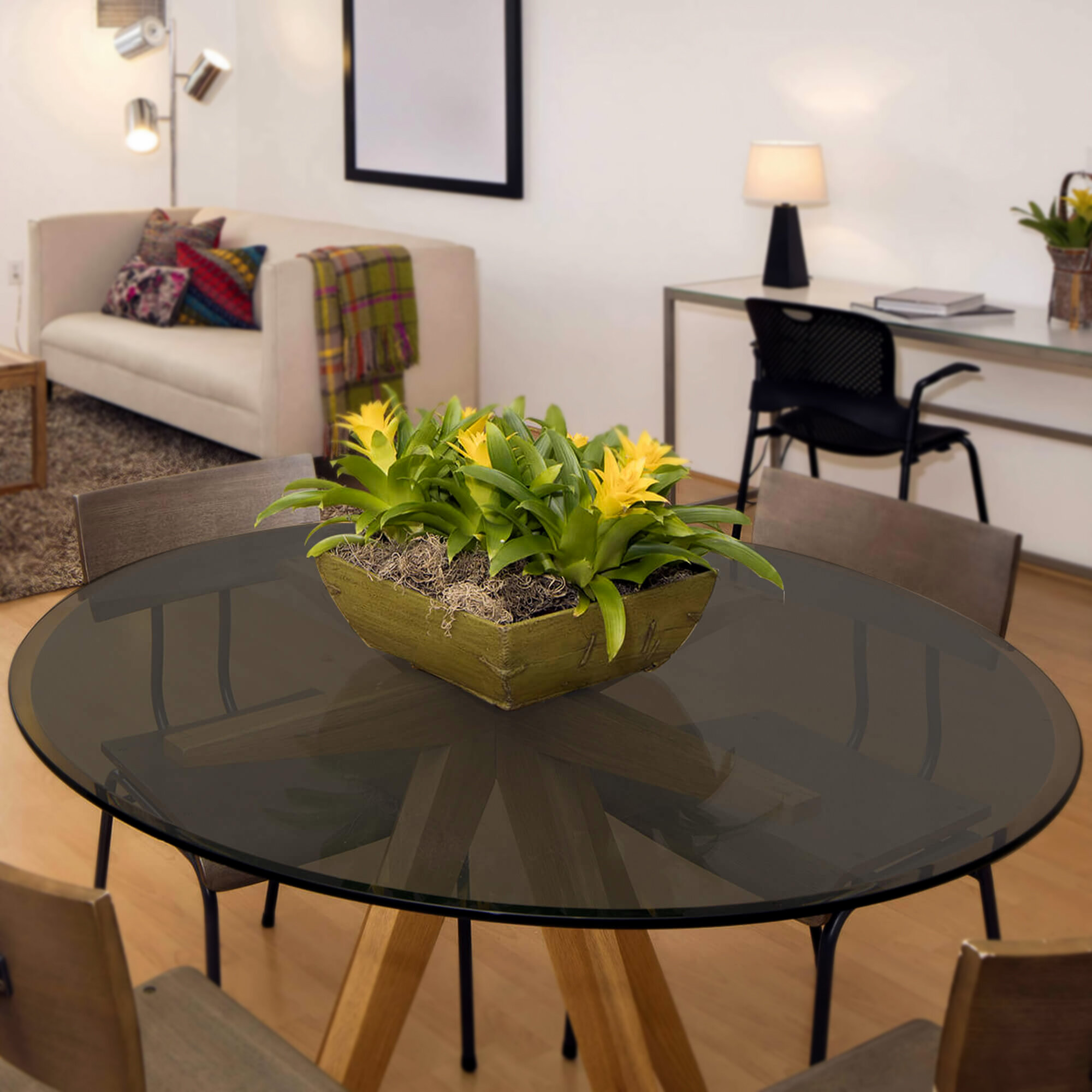 Ebern Designs Round Beveled Tempered Glass Table Top Wayfair