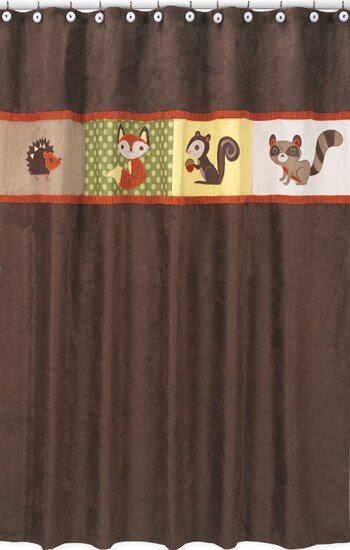 Forest Friends Cotton Shower Curtain by Sweet Jojo Designs