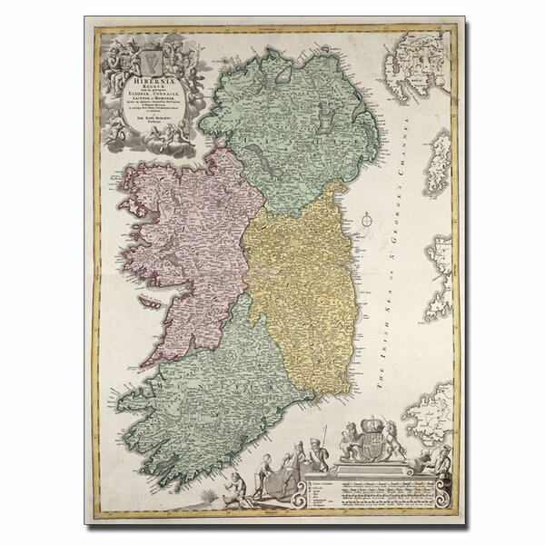 Map of Ireland 1730 by Johann B. Homann Graphic Art on Wrapped Canvas by Trademark Fine Art