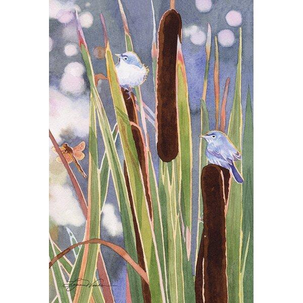 Blue Gray Gnatcatcher Cattails 2-Sided Garden flag by Toland Home Garden