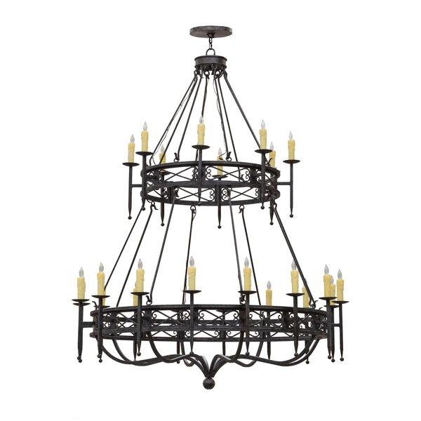 Marlborough 24 - Light Candle Style Wagon Wheel Chandelier By Astoria Grand