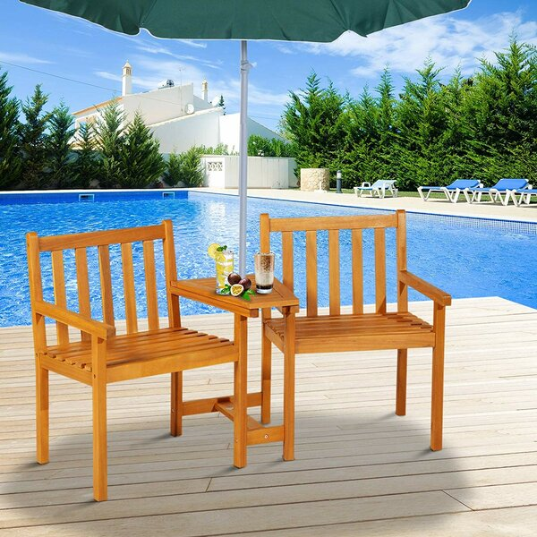 Sanmiguel Outdoor Slatted Wooden Tete-a-Tete Bench by Millwood Pines