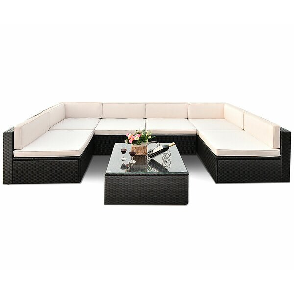 Derwent 7 Piece Rattan Sectional Seating Group With Cushions By Ivy Bronx