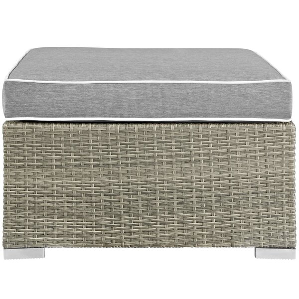 Heinrich Outdoor Ottoman with Cushion by Highland Dunes