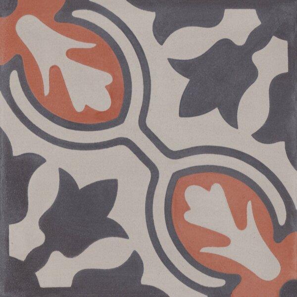 Lisbon 8 x 8 Cement Field Tile in Gray/Orange by Villa Lagoon Tile