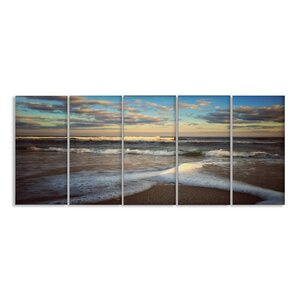 Ocean Shore Landscape 5 Piece Photographic Print on Canvas Set by Stupell Industries